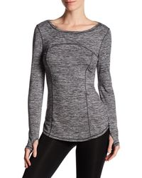Betsey Johnson | Gray Spacedye Boatneck Topstitched Tee | Lyst