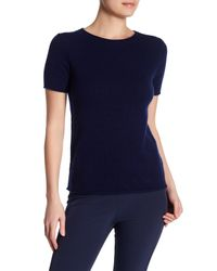 Theory | Blue Tolleree Short Sleeve Cashmere Pullover | Lyst