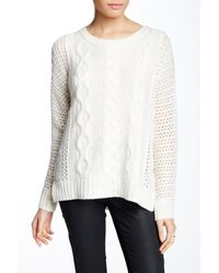Joan Vass | Multicolor Dolman Cable Knit Wool Blend Sweater | Lyst