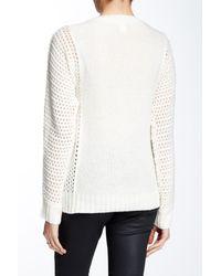 Joan Vass - Multicolor Dolman Cable Knit Wool Blend Sweater - Lyst