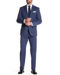 Tommy Hilfiger | Blue Two Button Notch Lapel Windowpane Print Suit for Men | Lyst