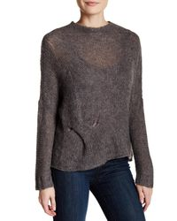 Eileen Fisher   Gray Jewel Neck Knit Pullover   Lyst