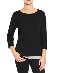 Eileen Fisher | Black Washable Wool Crepe Sweater | Lyst