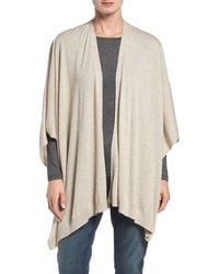 Eileen Fisher | Natural Merino Wool Knit Poncho | Lyst