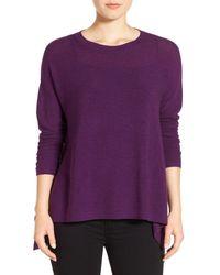 Eileen Fisher | Purple Merino Wool Ballet Neck Elliptical Hem Sweater | Lyst