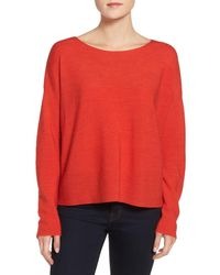 Eileen Fisher | Red Mix Stitch Merino Bateau Neck Sweater | Lyst