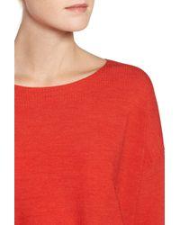 Eileen Fisher - Red Mix Stitch Merino Bateau Neck Sweater - Lyst