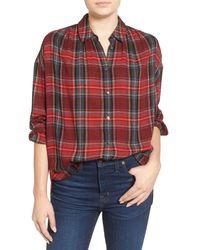 Madewell | Red Oversize Boyfriend Shirt | Lyst