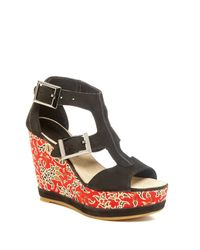 Blackstone - Black Batik Wedge Sandal - Lyst