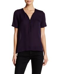 The Kooples | Blue Short Sleeve Zip Silk Blouse | Lyst