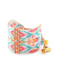 Mishky - White Freesia Studded Wide Beaded Bracelet - Lyst
