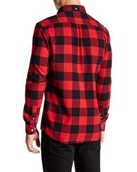 Wesc - Red Olavi Plaid Long Sleeve Relaxed Fit Shirt for Men - Lyst