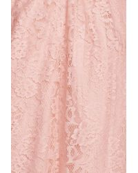Amsale - Pink Pleated Lace Sweetheart Strapless Gown - Lyst