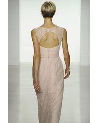 Amsale - Pink Illusion Yoke Lace Gown - Lyst