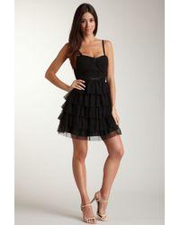 Guess - Black Ruffle Mesh Bustier Dress - Lyst
