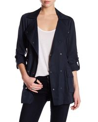 Vince Camuto | Blue Double Breasted Raglan Sleeve Trench Coat | Lyst