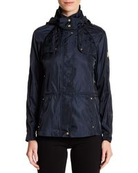 Vince Camuto - Blue Quilt Trim Hooded Anorak - Lyst