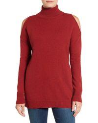 Halogen | Red Cold Shoulder Turtleneck Sweater | Lyst