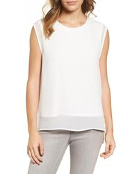 Halogen | White Double Layer Tank | Lyst