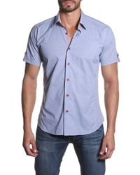 Jared Lang | Blue Short Sleeve Button Tab Semi-fitted Shirt for Men | Lyst