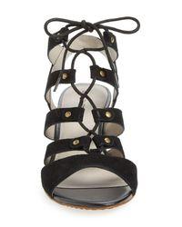 Hinge Black 'basin' Ghillie Lace Wedge Sandal (women)