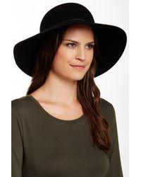 Phenix   Black Round Crown Floppy Wool & Genuine Leather Hat   Lyst