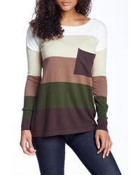 Love Stitch - Green Colorblock Striped Sweater - Lyst