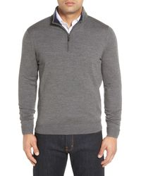 John W. Nordstrom   Gray Merino Wool Quarter Zip Sweater (big) for Men   Lyst