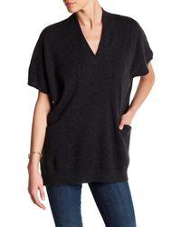 In Cashmere | Black Cap Sleeve Slit Pocket Cashmere Sweater | Lyst