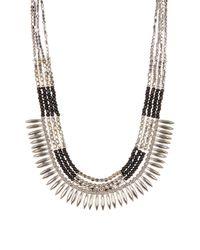 Joe Fresh | Black Beaded Spike Collar Necklace | Lyst