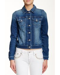 Miss Me - Blue Jogger Denim Jacket - Lyst