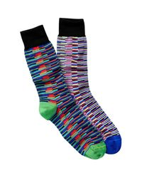 Jared Lang - Blue Layered Stripes Crew Socks - Pack Of 2 for Men - Lyst