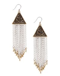 Lucky Brand - Multicolor Two-Tone Modern Metals Chain Earrings - Lyst
