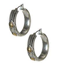 Lucky Brand - Multicolor Carved Hoop Earrings - Lyst