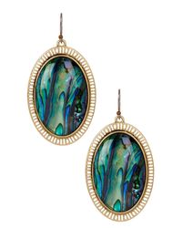 Lucky Brand - Multicolor Oval Abalone Drop Earrings - Lyst