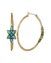 Lucky Brand | Multicolor Turquoise Flower Hoop Earrings | Lyst