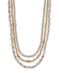 Lucky Brand - Metallic Triple Strand Two-tone Bead Detail Leather Necklace - Lyst