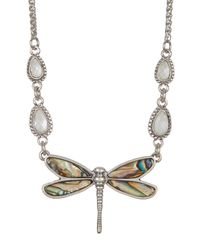 Lucky Brand | Multicolor Crystal Detail Dragonfly Pendant Collar Necklace | Lyst