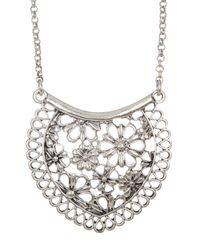 Lucky Brand - Metallic Silver Lace Pendant Necklace - Lyst