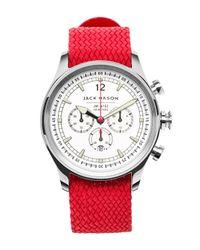 Jack Mason Brand | Red Men's Brand Nautical Woven Strap 42mm Watch for Men | Lyst