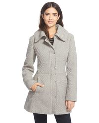 Jessica Simpson - Gray Basket Weave Fit & Flare Coat - Lyst