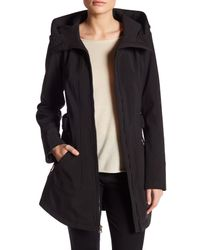 Jessica Simpson | Black Belted Soft Shell Jacket With Hood | Lyst