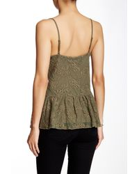 Jessica Simpson - Green Renee Embroidered Mesh Peplum Cami - Lyst