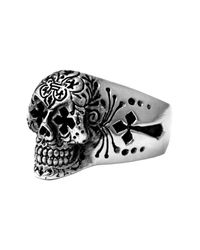 King Baby Studio - Metallic Sterling Silver Day Of The Dead Skull Ring - Size 10.5 for Men - Lyst