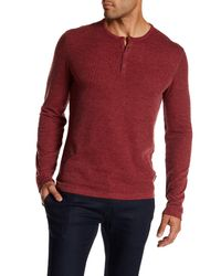John Varvatos - Red Long Sleeve Henley Pullover for Men - Lyst