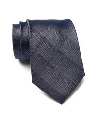 Calvin Klein - Gray Subtle Plaid Silk Tie for Men - Lyst