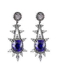 CZ by Kenneth Jay Lane - Multicolor Cz Accented Spike Frame Earrings - Lyst