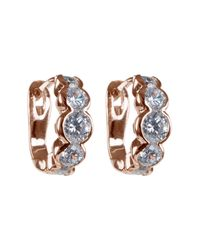 CZ by Kenneth Jay Lane | Metallic Rose Gold Plated Bezel Round Cz Mini Hoop Earrings | Lyst