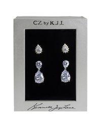 CZ by Kenneth Jay Lane   Metallic Pear Cz Stud & Drop Earrings Set   Lyst