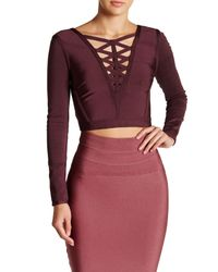 Wow Couture - Purple Crisscross V-neck Cropped Shirt - Lyst